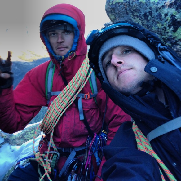 Me and Andrew in the morning after emerging from our bivy sack, ready to get off the mountain.