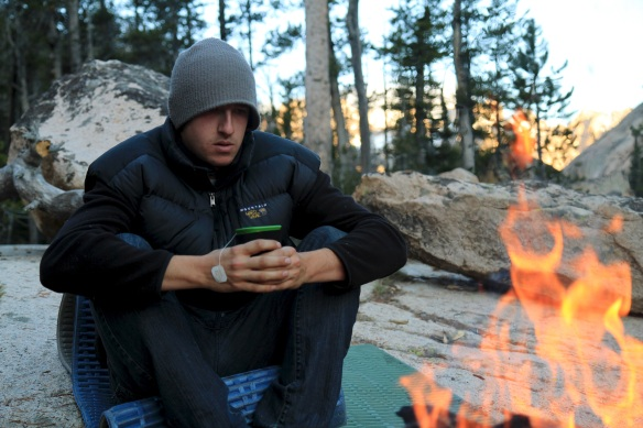 Enjoying some tea around the fire.