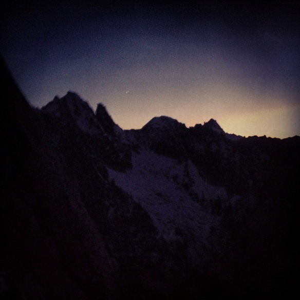 Arriving at the top of the route in near darkness.