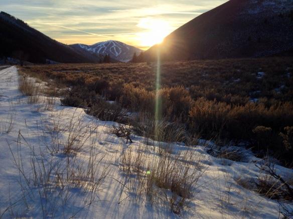 The sun sets over an unseasonably dry Sun Valley, Idaho.