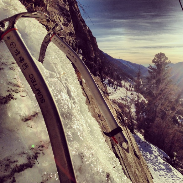 Roadside ice climbing on Trail Creek road.